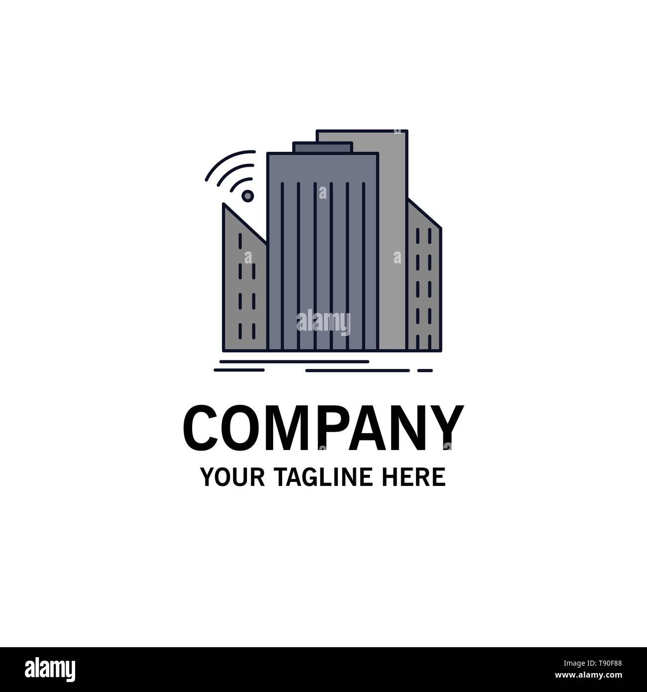 Buildings, city, sensor, smart, urban Flat Color Icon Vector - Stock Vector