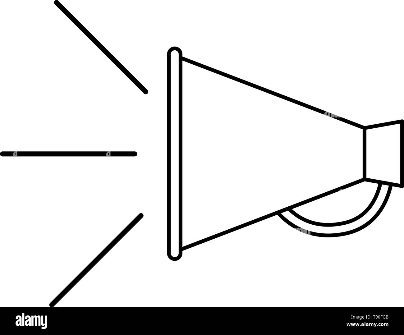 megaphone silhouette with white background - Stock Vector