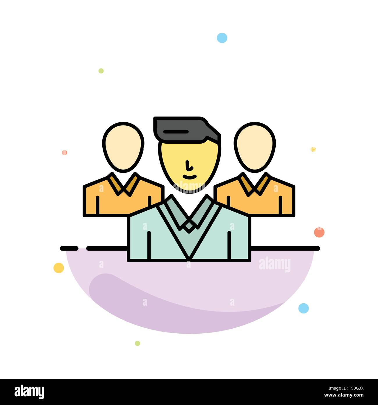 Staff, Security, Friend zone, Gang Abstract Flat Color Icon Template - Stock Image