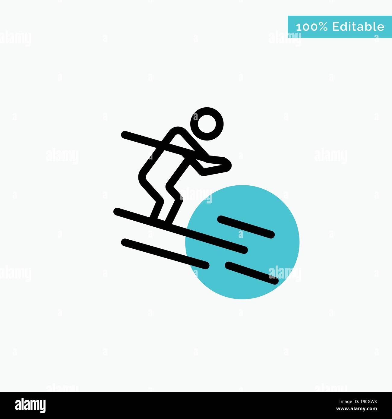 Activity, Ski, Skiing, Sportsman turquoise highlight circle point Vector icon - Stock Image