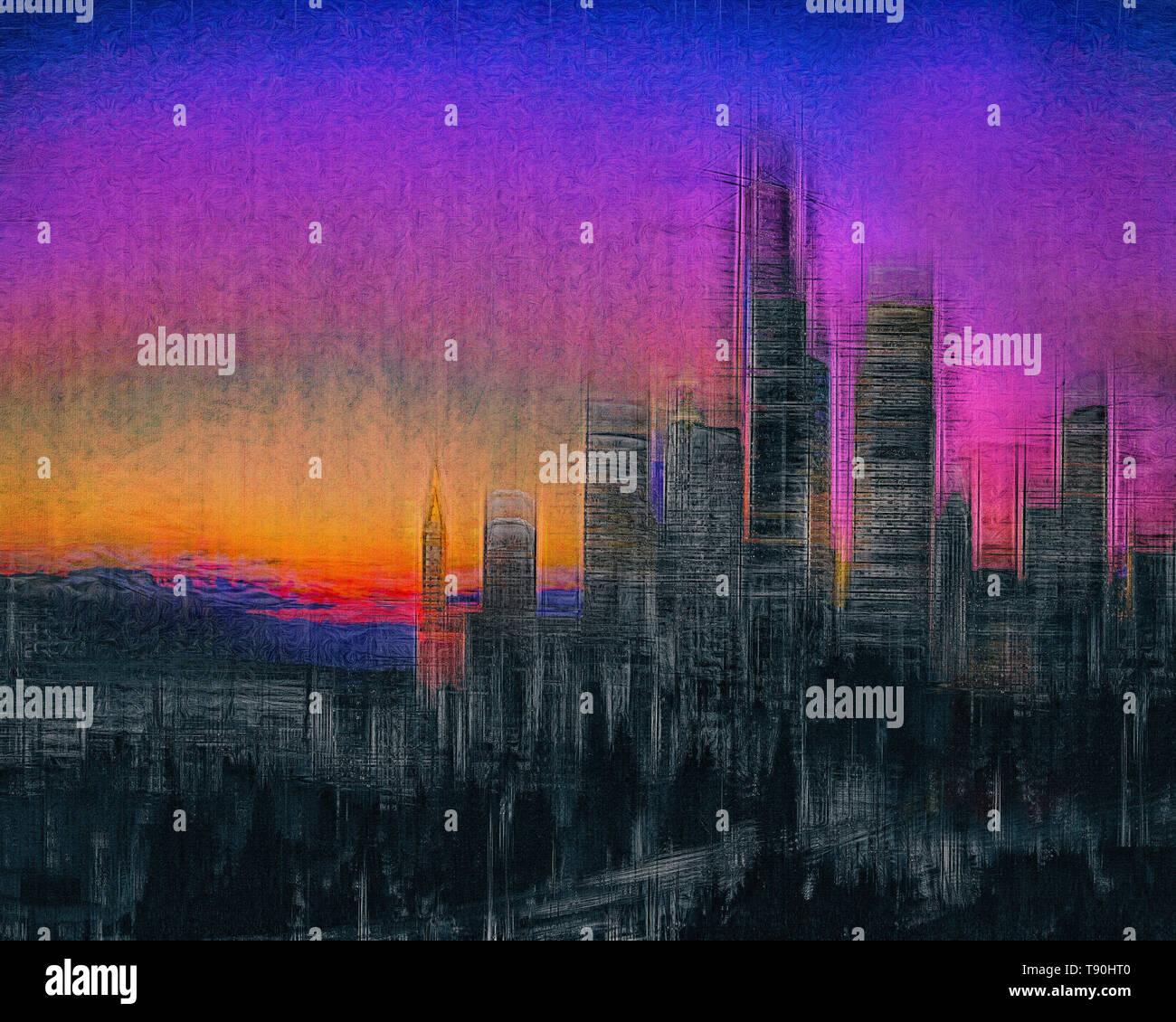 DIGITAL ART: The City  (Seattle, Washington, USA) - Stock Image