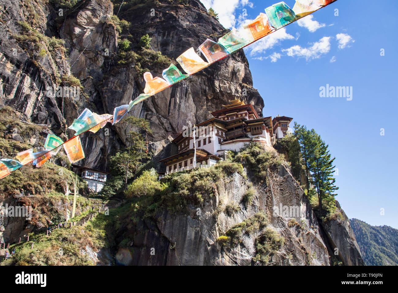 Tigers Nest monastry nr Paro Bhutan - Stock Image