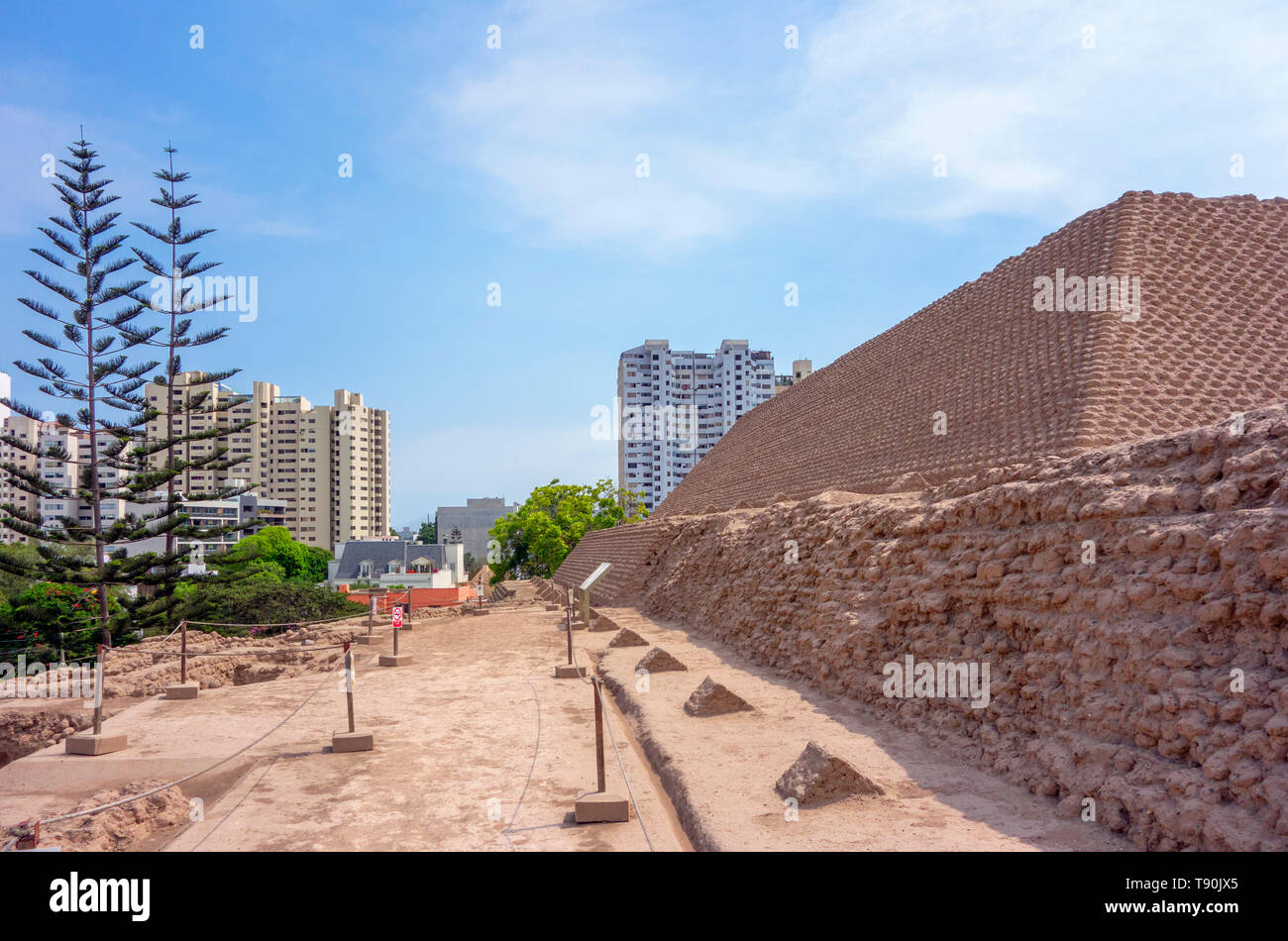 Huaca Huallamarca, an adobe pyramid dating from around 200 to 500 AD, San Isidro neighbourhood, Lima, Peru, South America - Stock Image