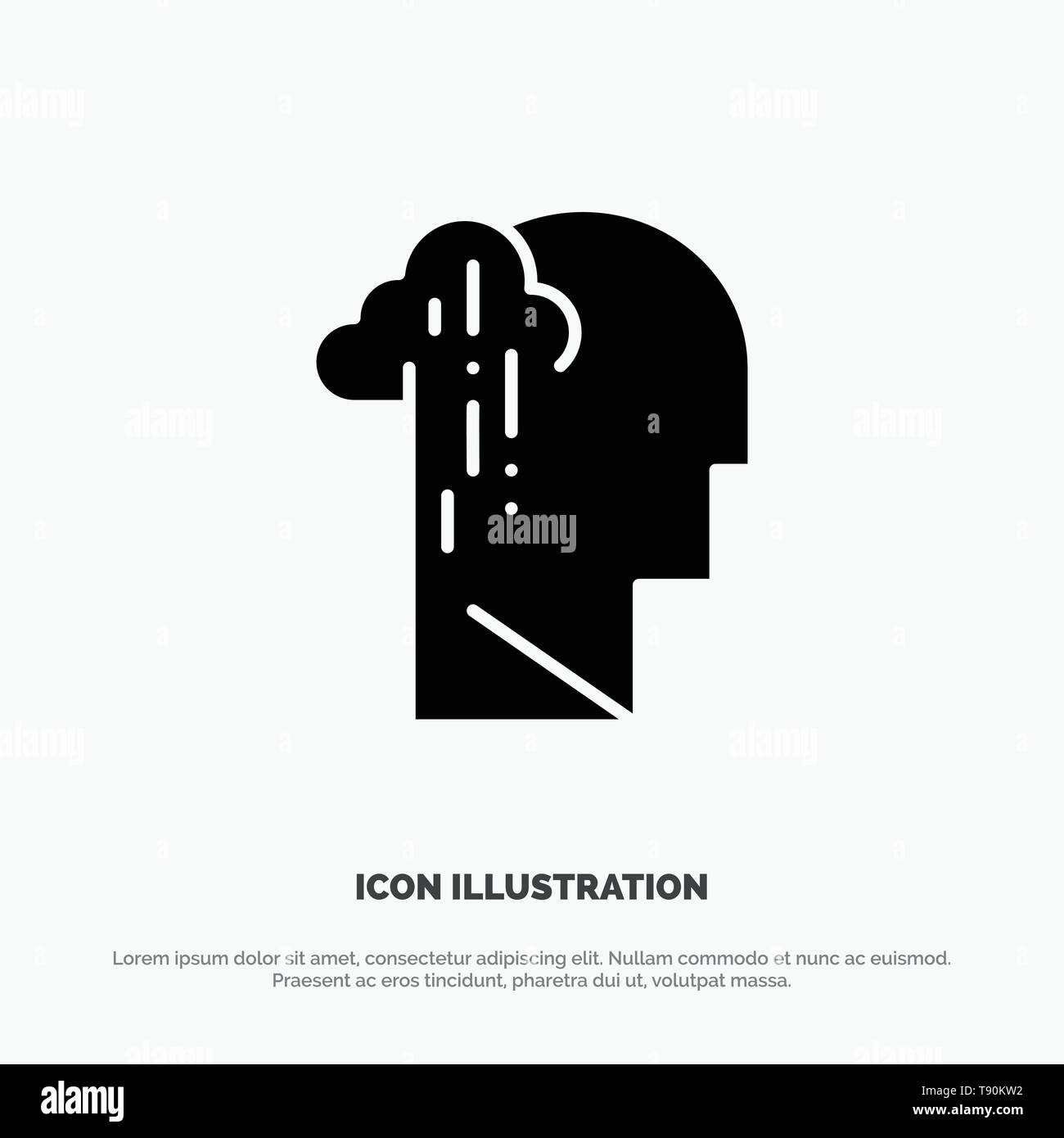 Depression, Grief, Human, Melancholy, Sad solid Glyph Icon vector - Stock Vector