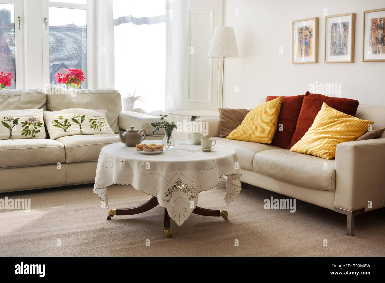 Fantastic Sunlit Classic Style Living Room With Two Leather Sofas And Customarchery Wood Chair Design Ideas Customarcherynet