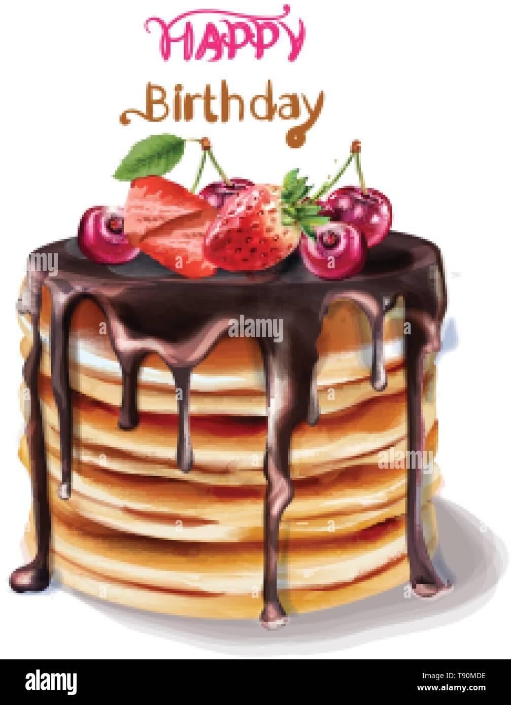 Admirable Happy Birthday Cake Vector Watercolor Chocolate Filling And Funny Birthday Cards Online Amentibdeldamsfinfo