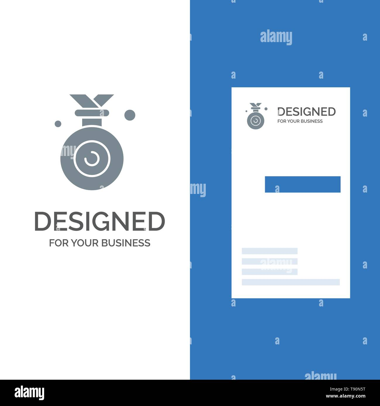 Medal, Olympic, Winner, Won Grey Logo Design and Business Card Template - Stock Vector