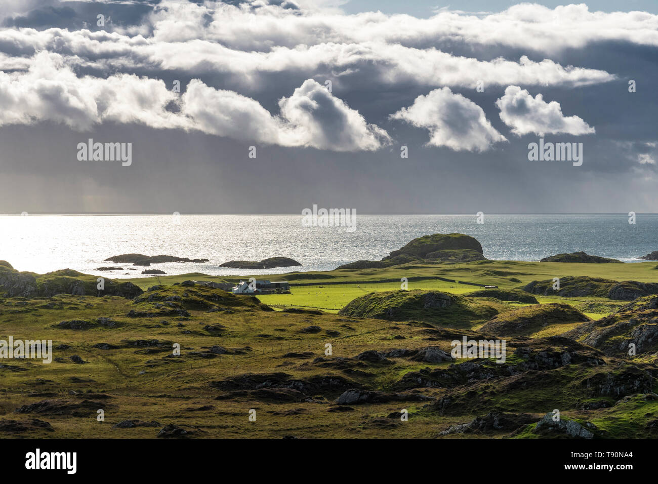 West Coast of Iona in dramatic light - Stock Image