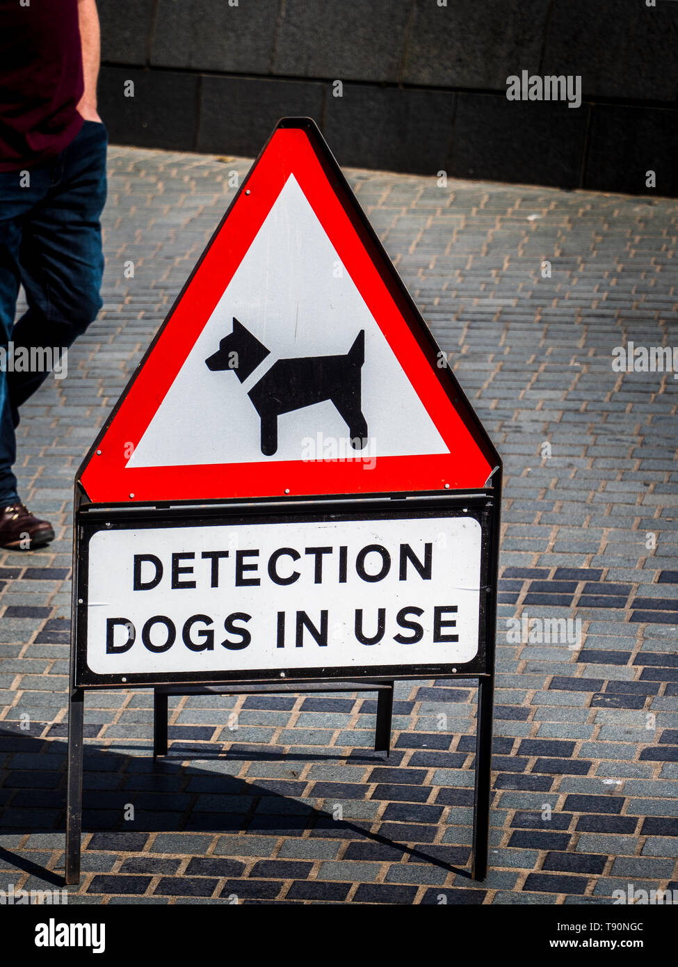 Detection Dogs in Use Sign - warning about the use of dogs trained to use its sense of smell to detect explosives or illegal drugs, - Stock Image