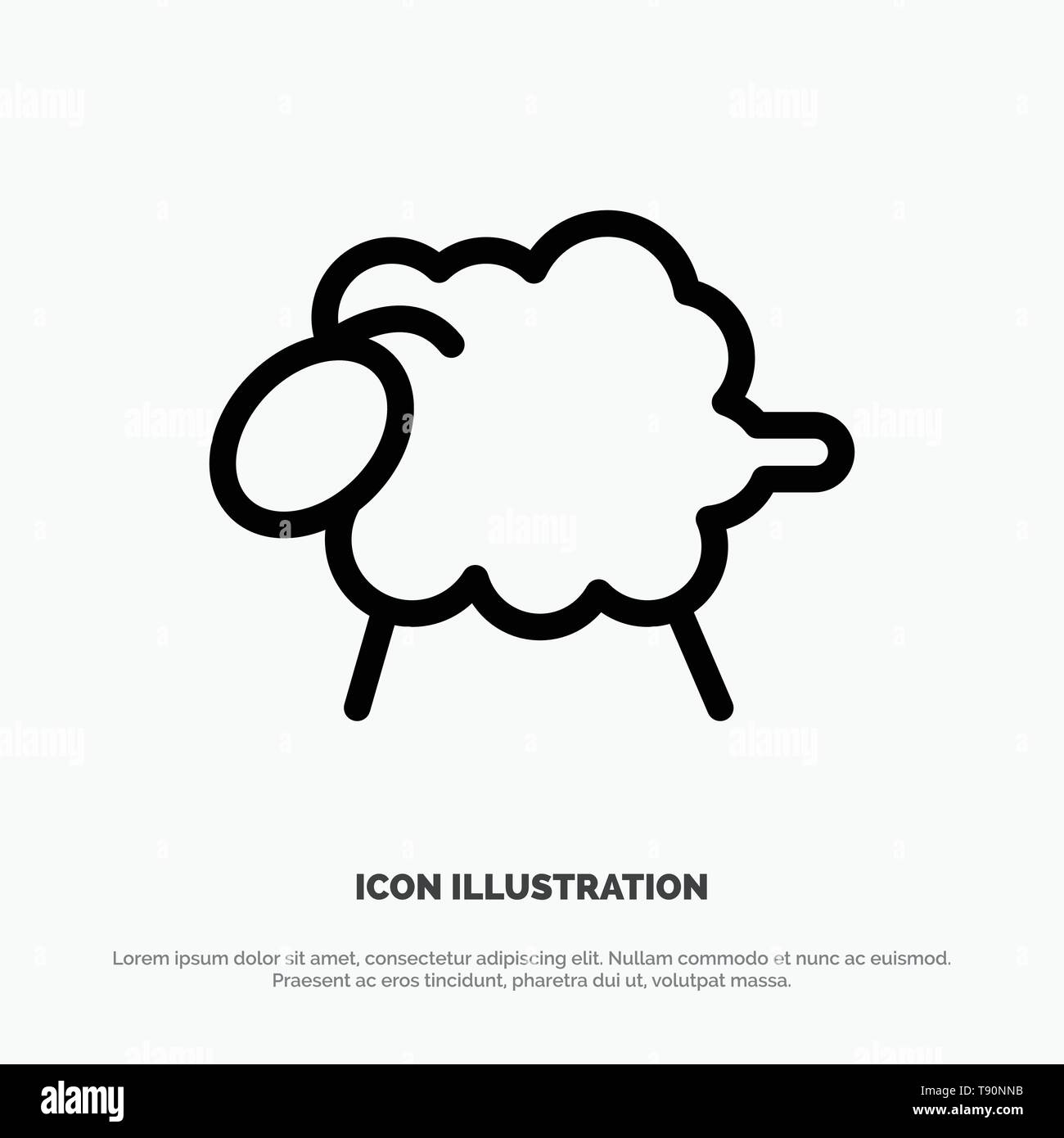 Lamb, Sheep, Wool, Easter Line Icon Vector - Stock Vector