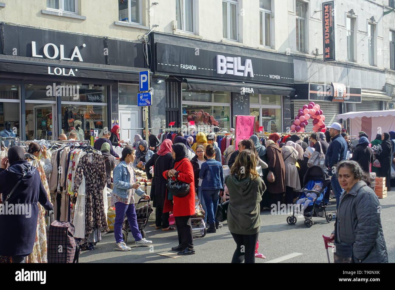 Brüssel, Bruxelles, Molenbeek-Saint-Jean/Sint-Jans-Molenbeek; Die Bevölkerung von Molenbeek hat einen hohen Anteil vor allem von Einwanderern, von den - Stock Image