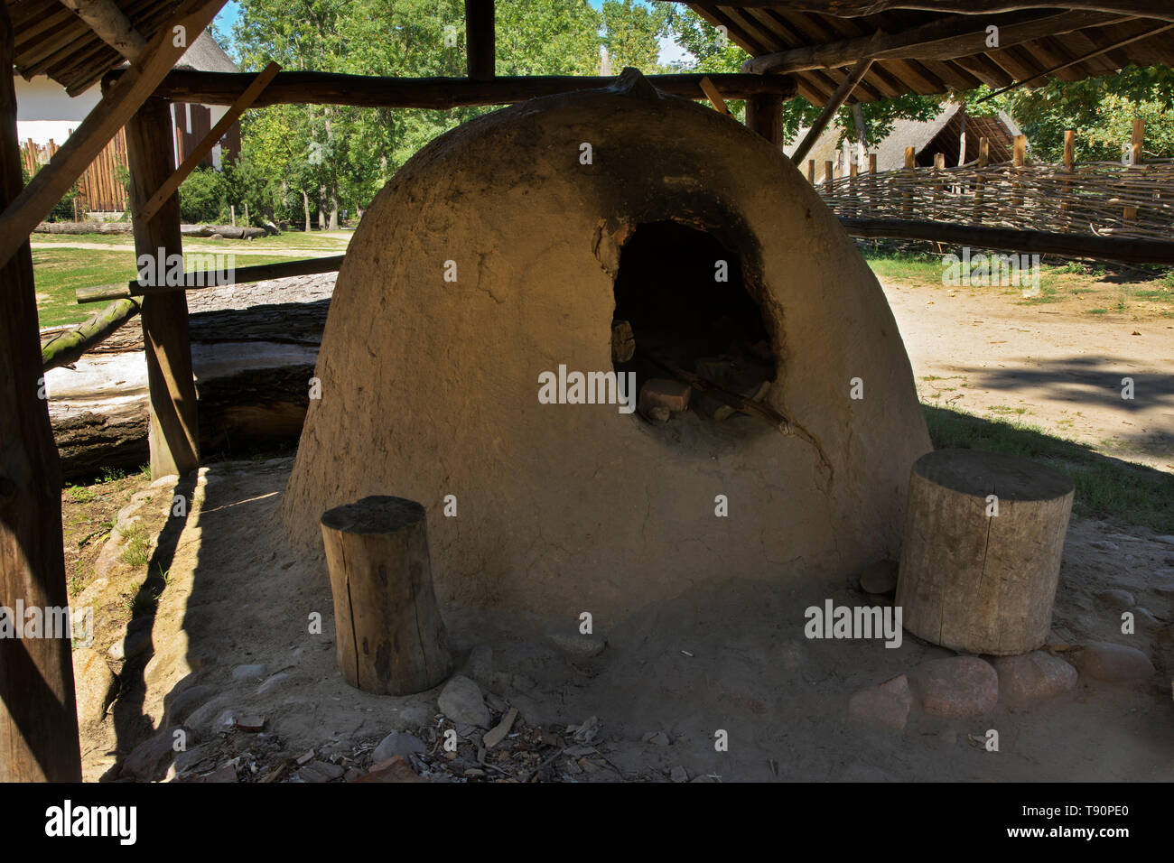 Ancient oven in Biskupin. Poland - Stock Image