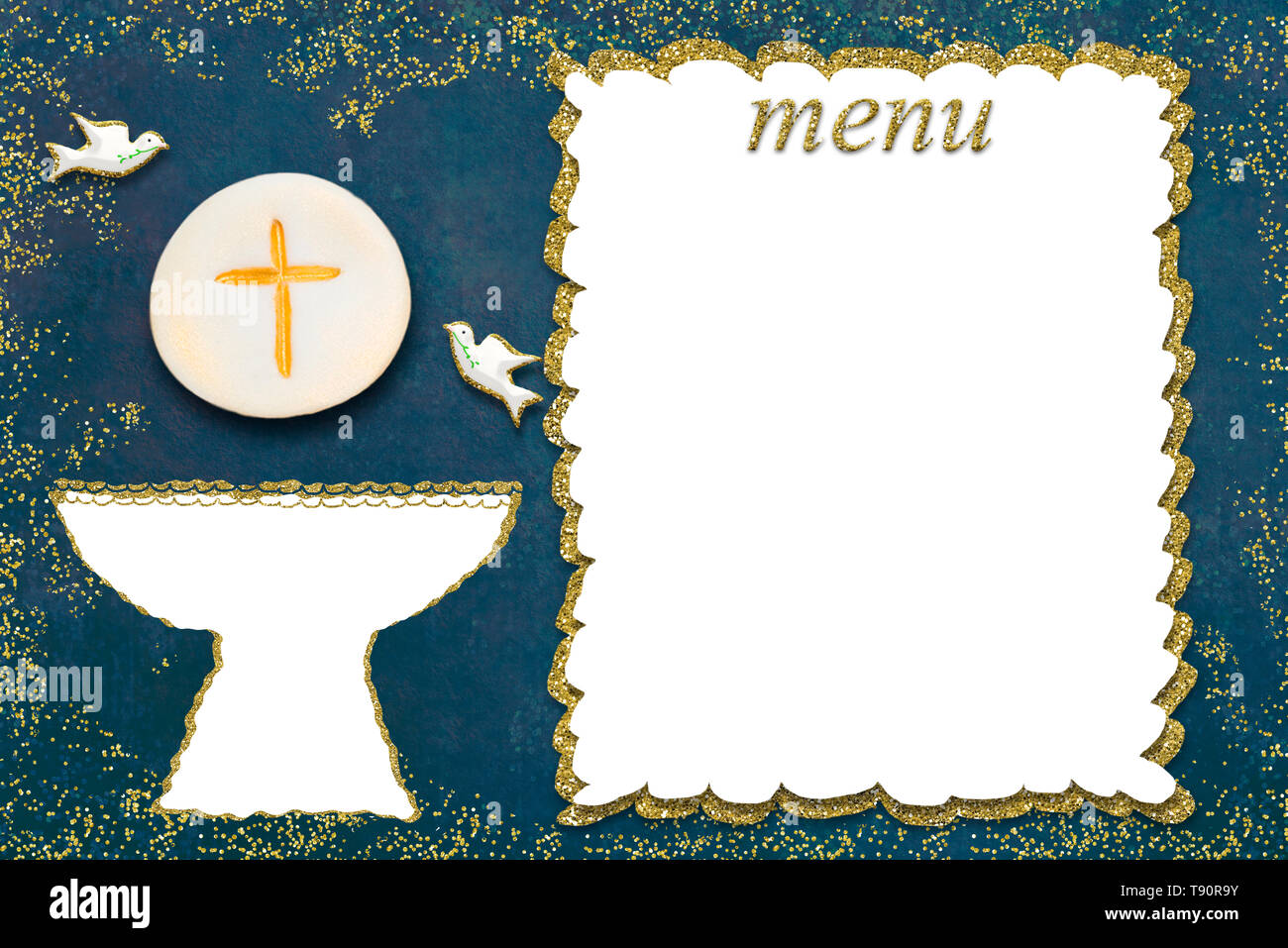 Incredible First Holy Communion Menu Invitation Card Golden Chalice And Doves Personalised Birthday Cards Paralily Jamesorg