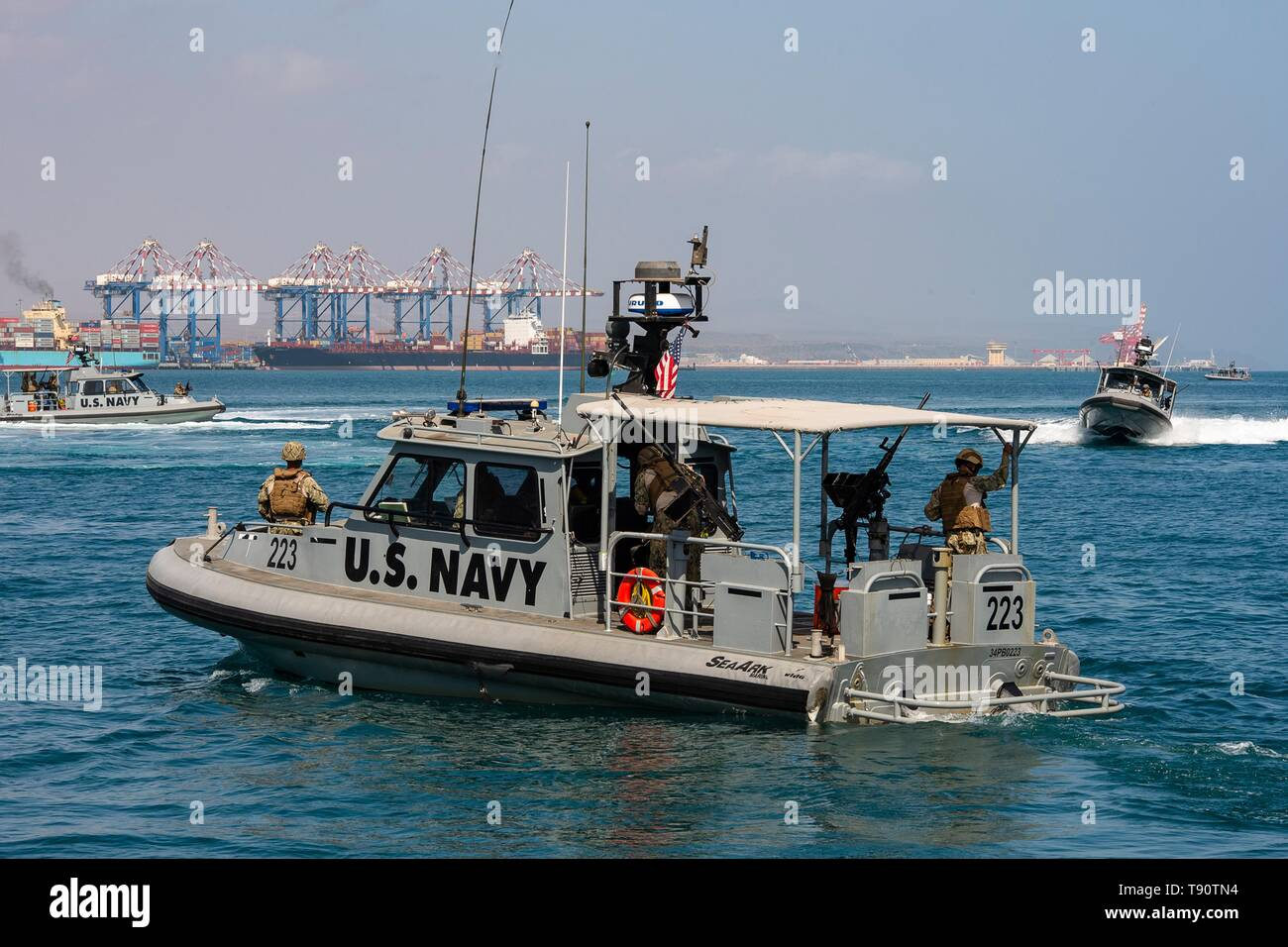 The U.S. Navy Arleigh Burke-class Combined Task Group 68.6 during security exercises in the Port of Djibouti May 12, 2019 in Djibouti. - Stock Image