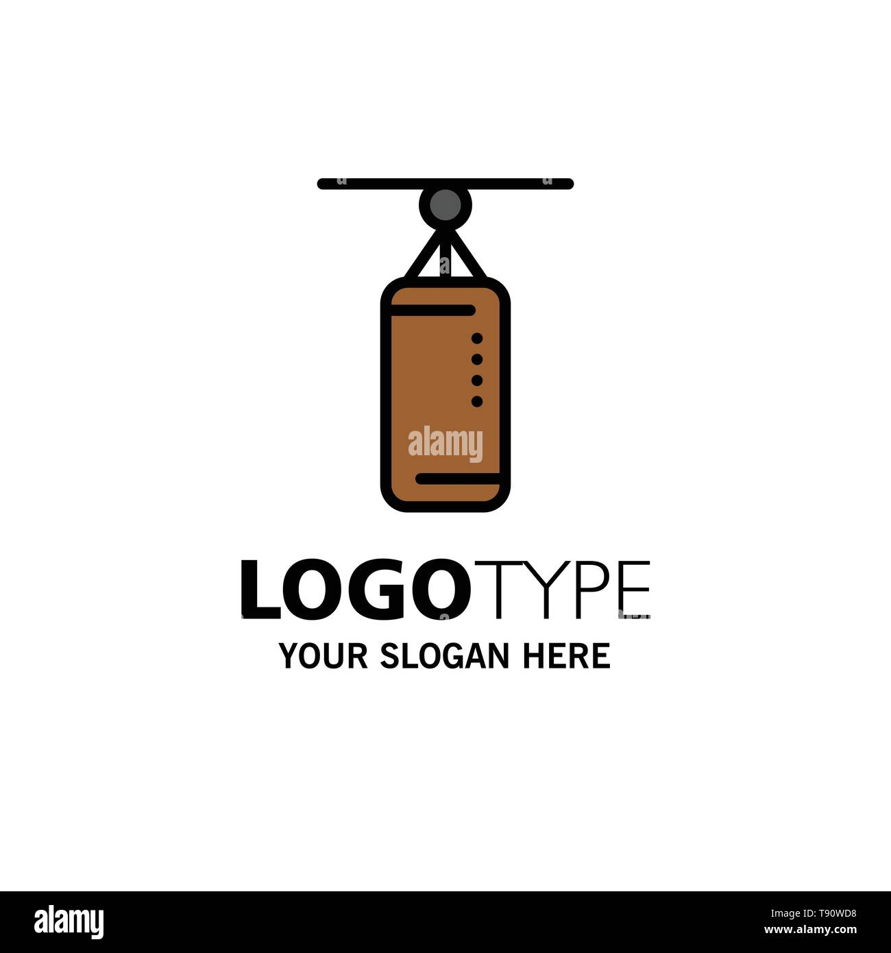 Bag, Boxing, Punch bag, Punching Business Logo Template. Flat Color - Stock Image