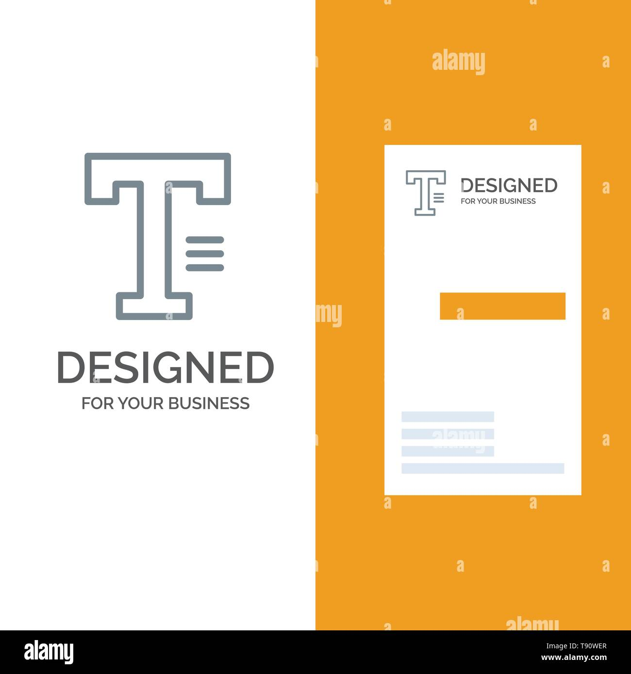 Type, Text, Write, Word Grey Logo Design and Business Card Template Stock Vector