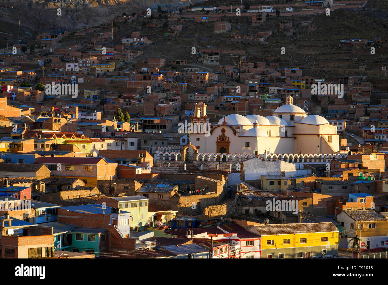 Panorama view of Potosi city, Bolivia in golden hour - Stock Image