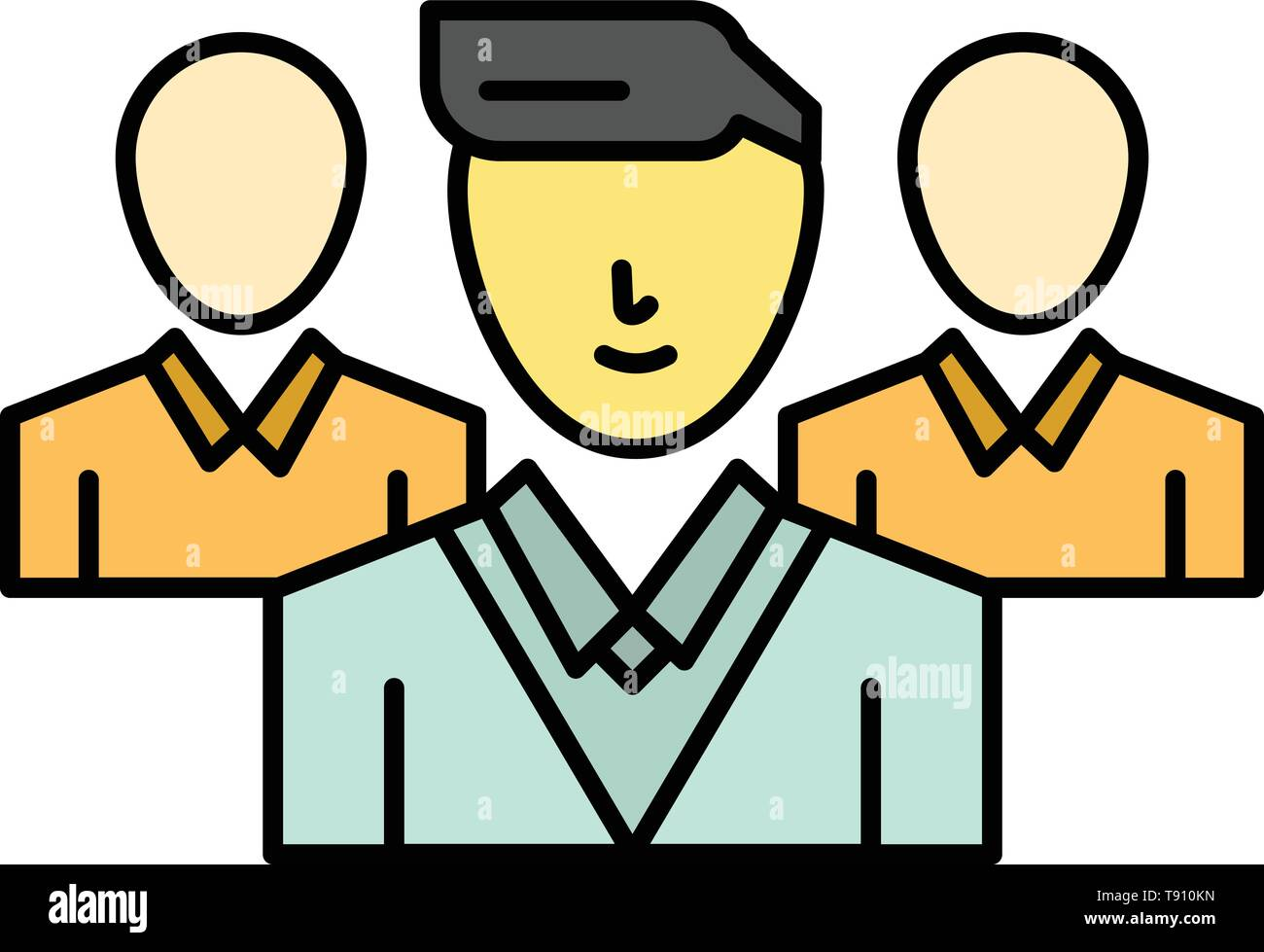 Staff, Security, Friend zone, Gang  Flat Color Icon. Vector icon banner Template - Stock Image