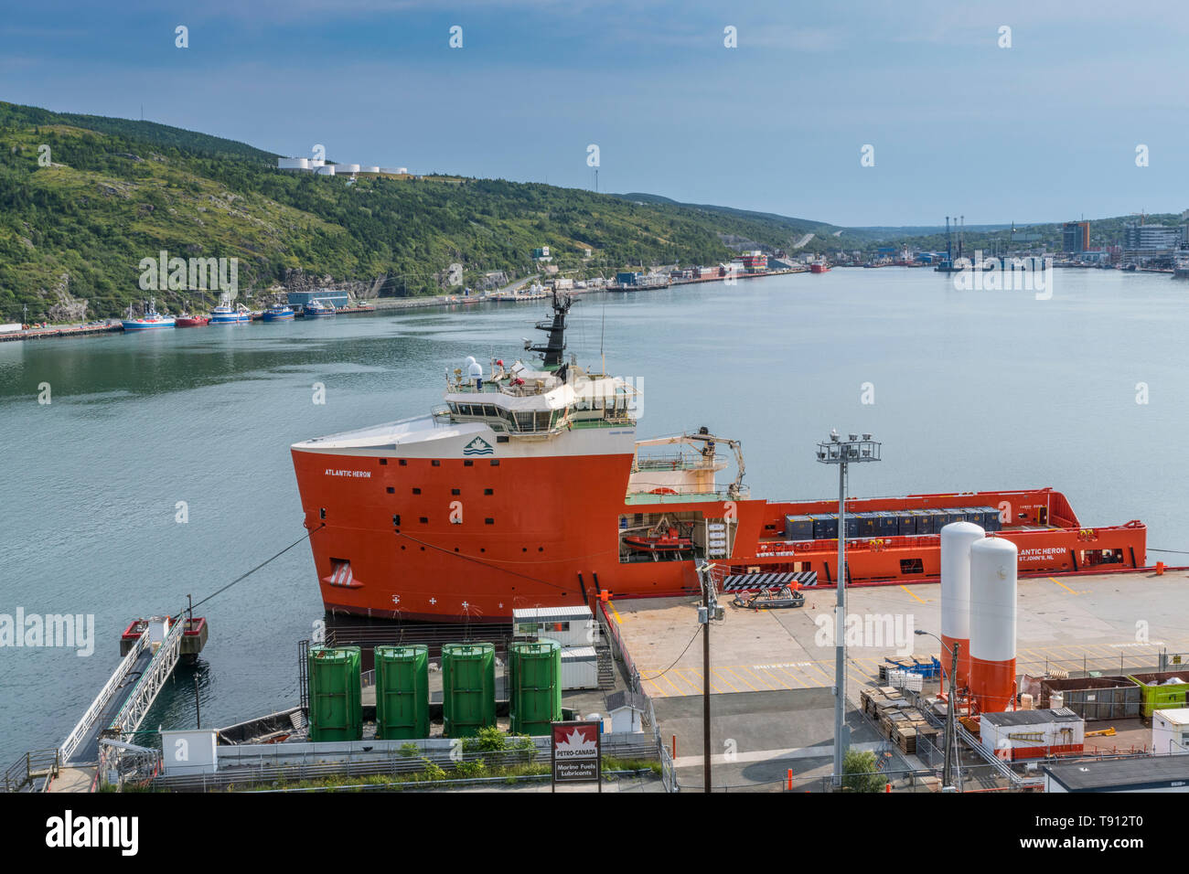 Atlantic Heron offshore supply ship docked in St. John's, Newfoundland, Canada, Summer 2018 - Stock Image