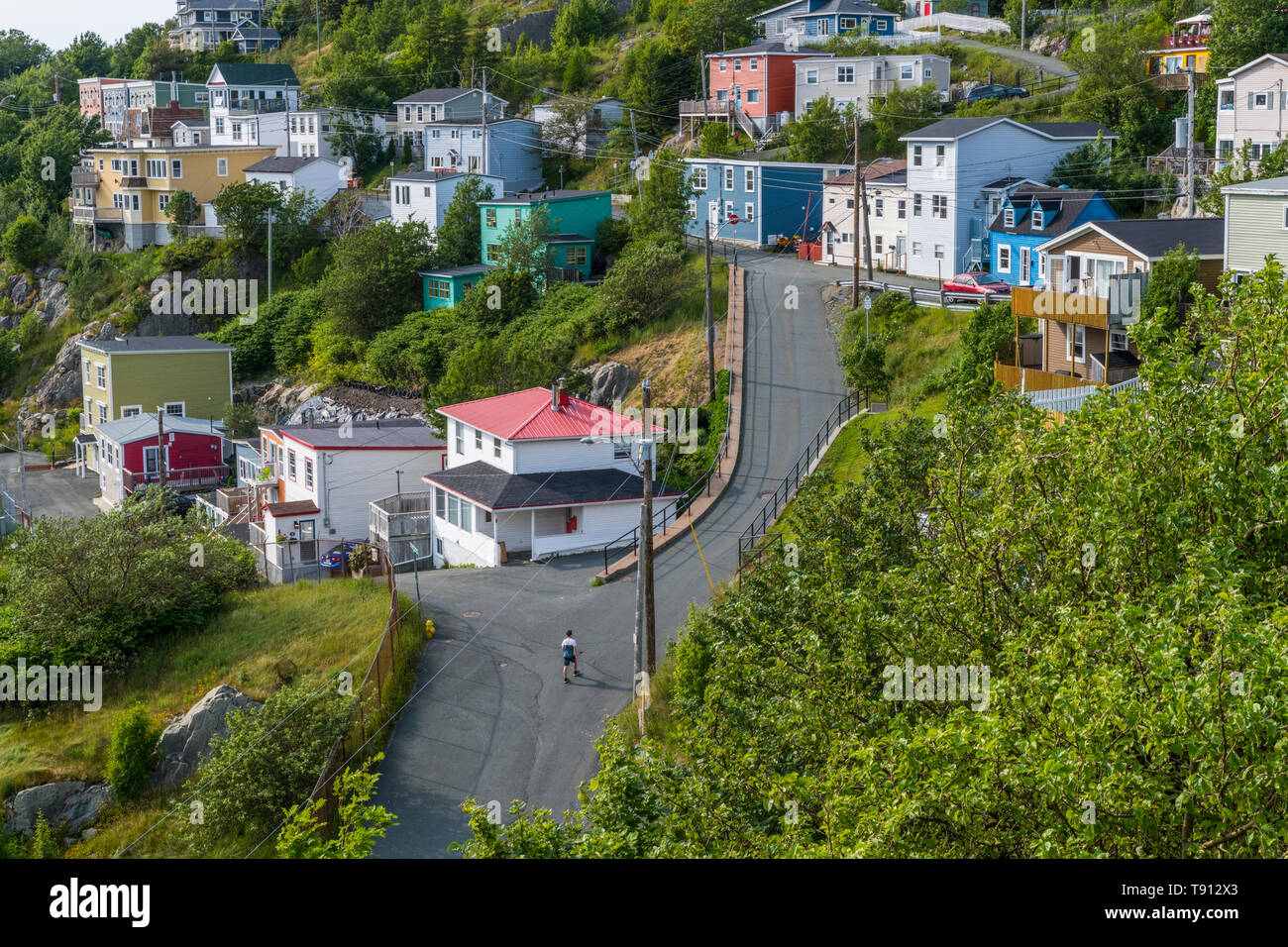 Residential homes, in The Battery area, Downtown St. John's, Newfoundland, Summer, 2018 - Stock Image