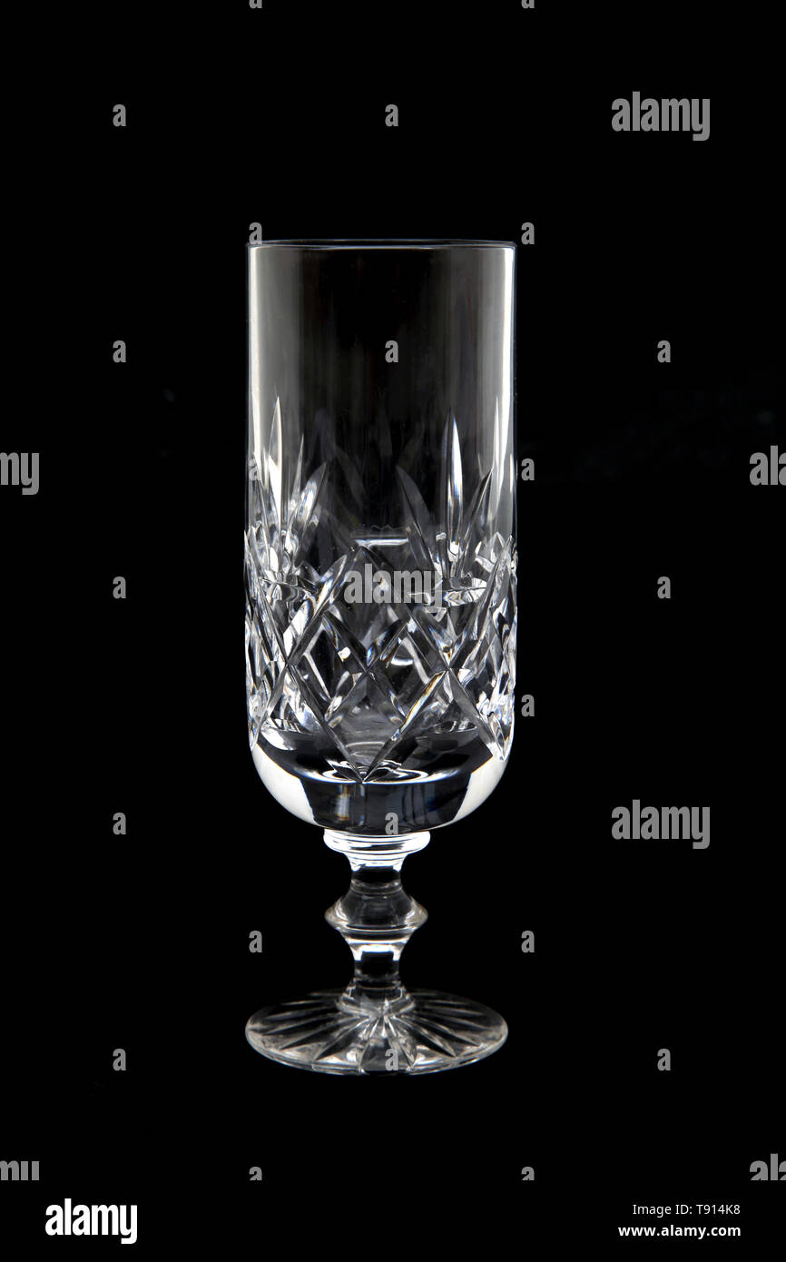 Crystal Glass Champagne Flute - Stock Image