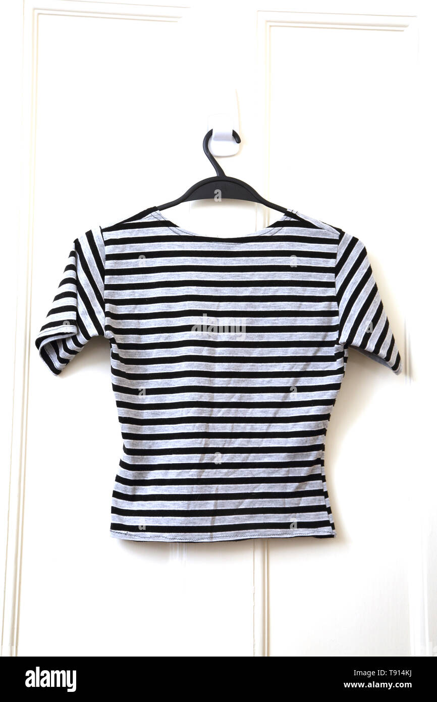 River Island Crop Top T-Shirt with Stripes - Stock Image
