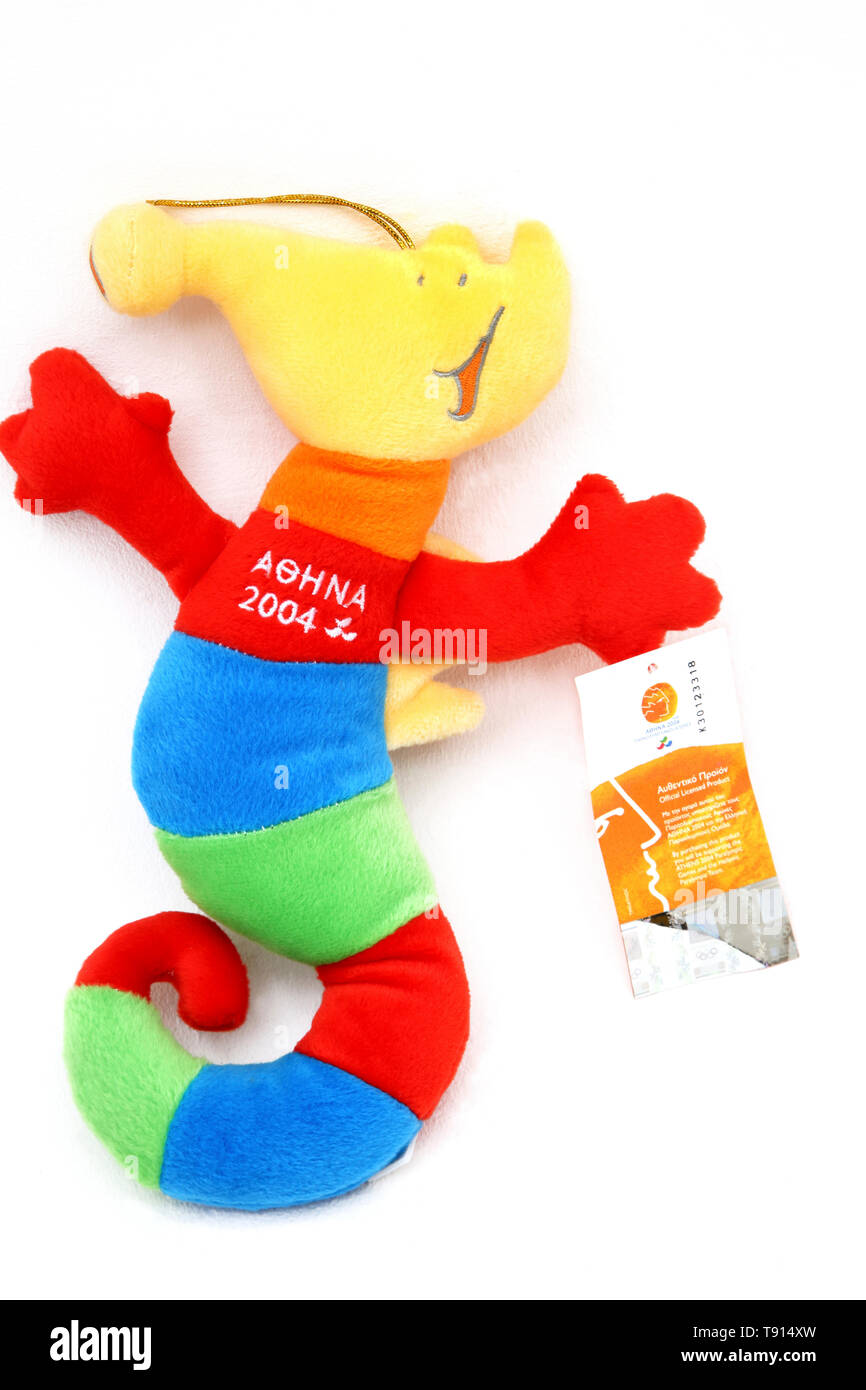 Olympic 2004 Mascot Phevos Plush Toy - Stock Image