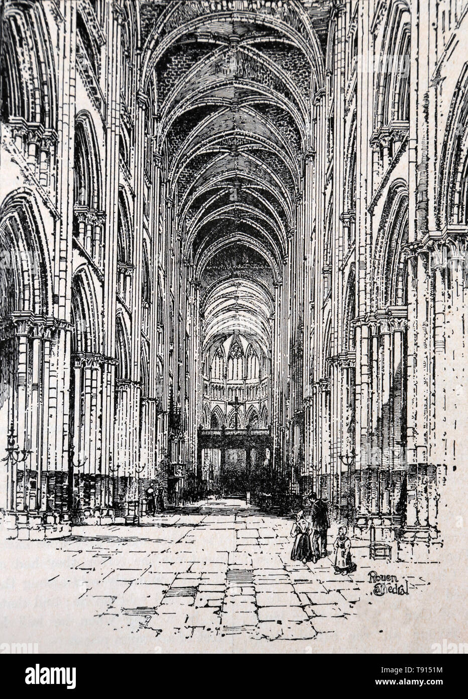 Illustration of Interior of Rouen Cathedral in 1211 A.D from the Book Cassell's History of England - Stock Image
