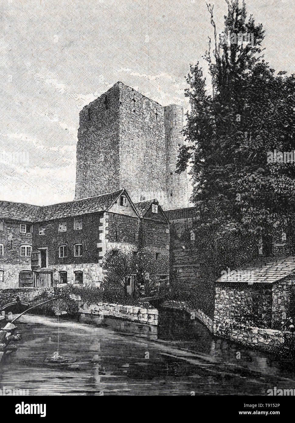 Illustration Depicting St George's Tower at Oxford Castle from photograph by Taunt & Co - Stock Image