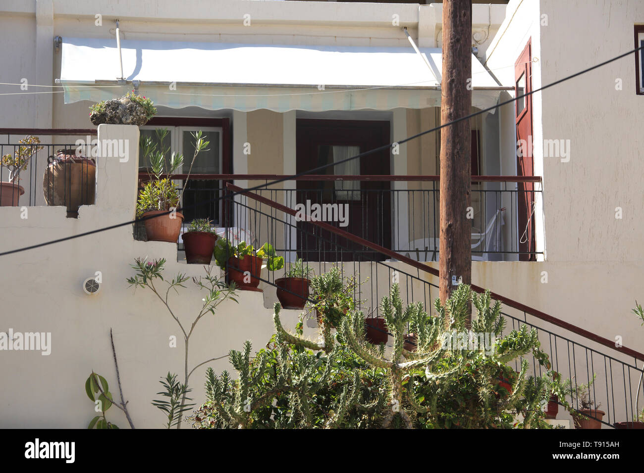 Vourkari Kea Island Greece Potted Plants on stairs leading up to Houses - Stock Image
