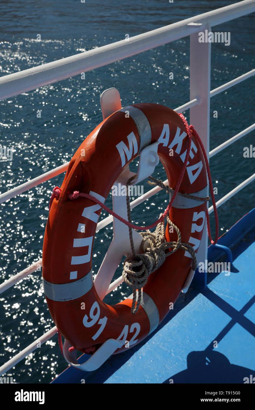 Kea Island Greece Ferry Lifebuoy Stock Photo