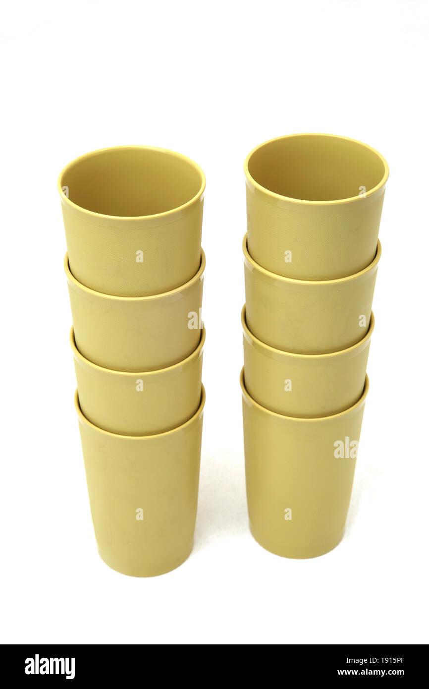 Stacks of Vintage Tupperware Beakers - Stock Image