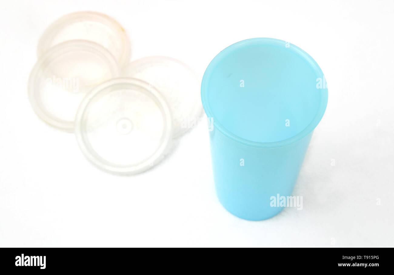 Vintage Tupperware Blue Beaker and Lids - Stock Image