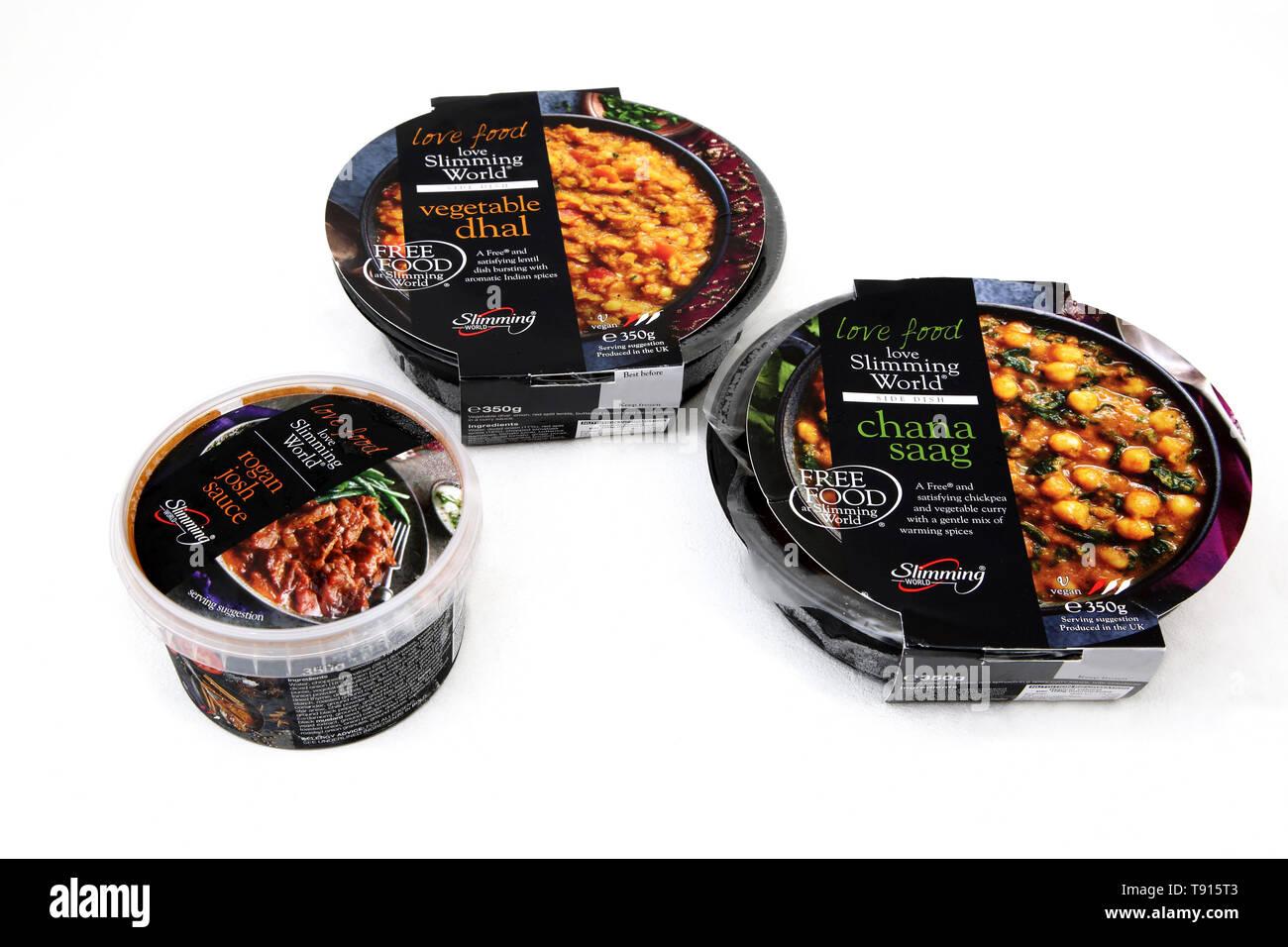 Slimming World Vegan Curry - Vegetable Dhal, Chana Saag and Rogan Josh Sauce - Stock Image