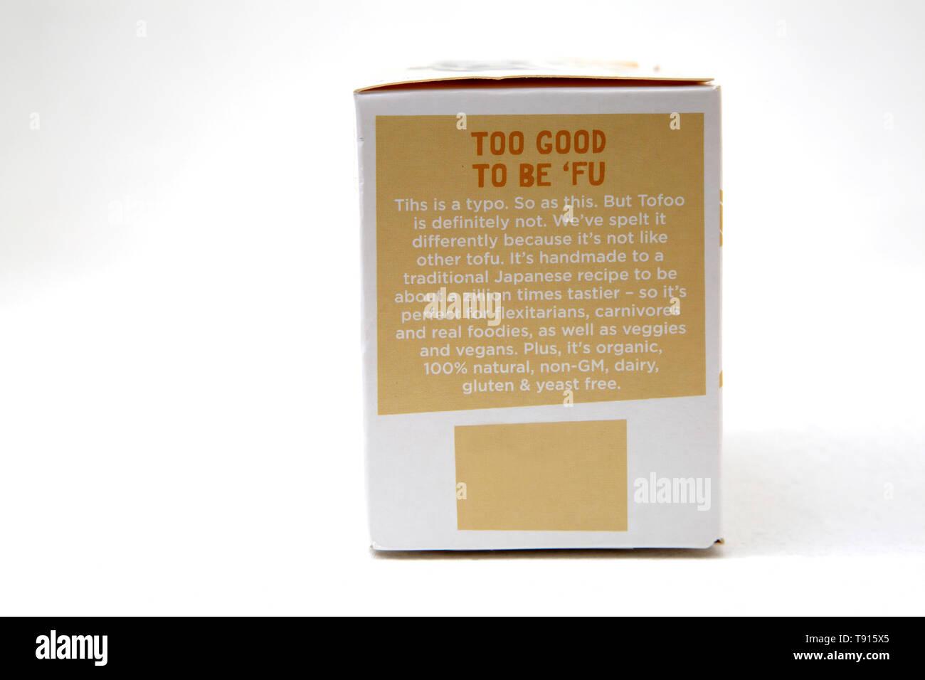 The Tofoo Co Organic Beechwood Smoked Tofu Gluten free, Dairy Free, Yeast Free non GM - Stock Image