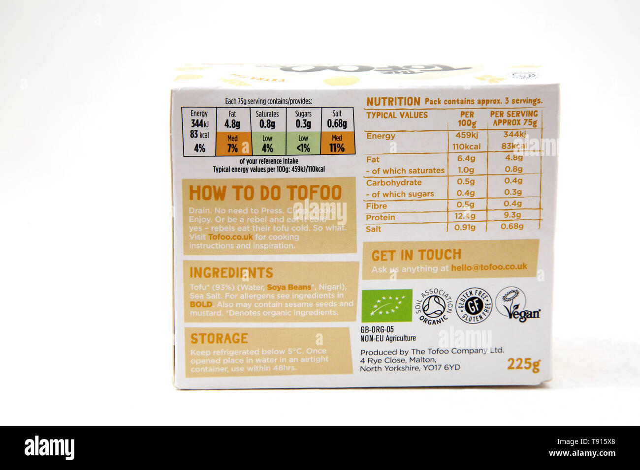 The Tofoo Co Organic Beechwood Smoked Tofu back of pack showing Ingredients, Nutritional Information and Logos - Stock Image