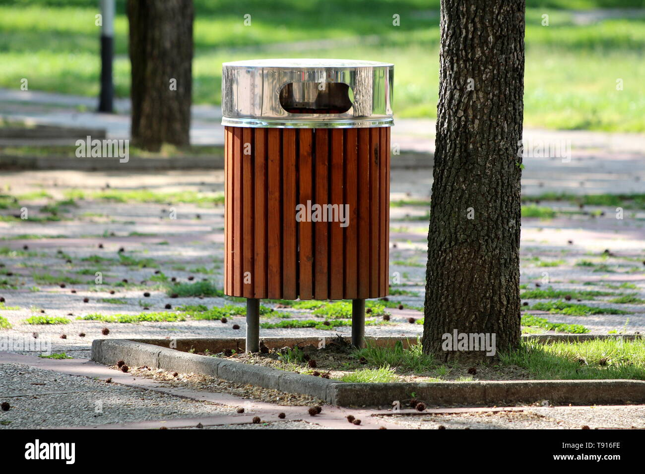 Public trash can made of narrow wooden boards with shiny metal top cover next to old tall tree surrounded with stone tiles in local park on warm sunny - Stock Image
