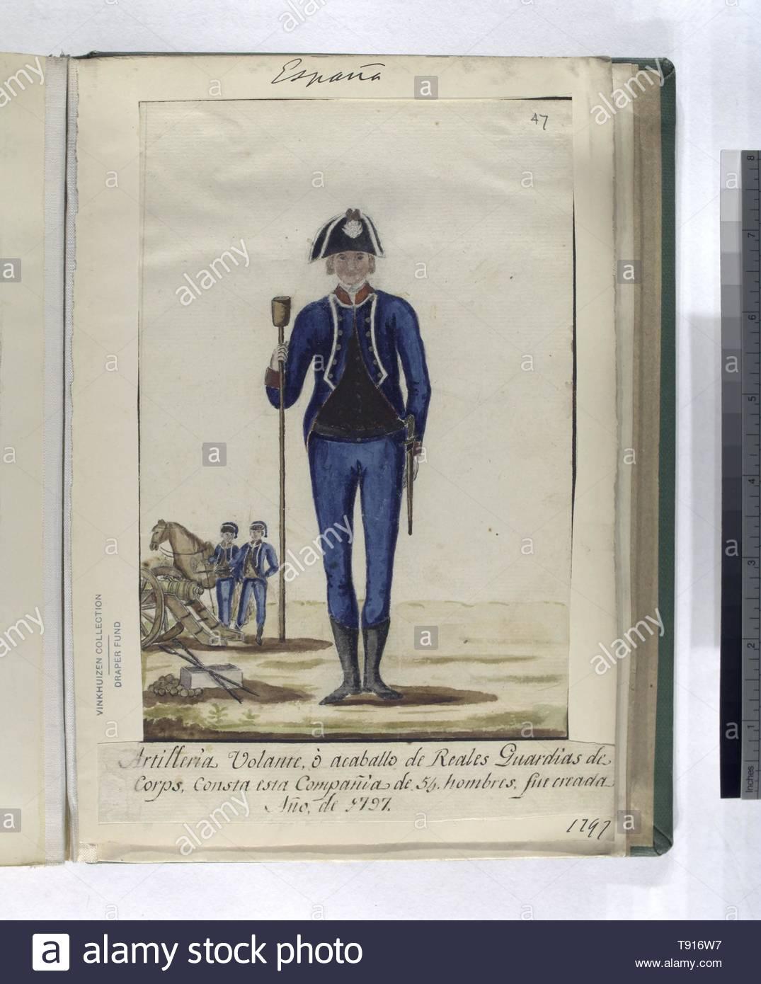 Anonymous-Artilleria Volante, ó acaballo de Reales Guardias de Corps  Consta esta Compañia de 54 hombres, fue creada Año, de 1797 (1797) - Stock Image
