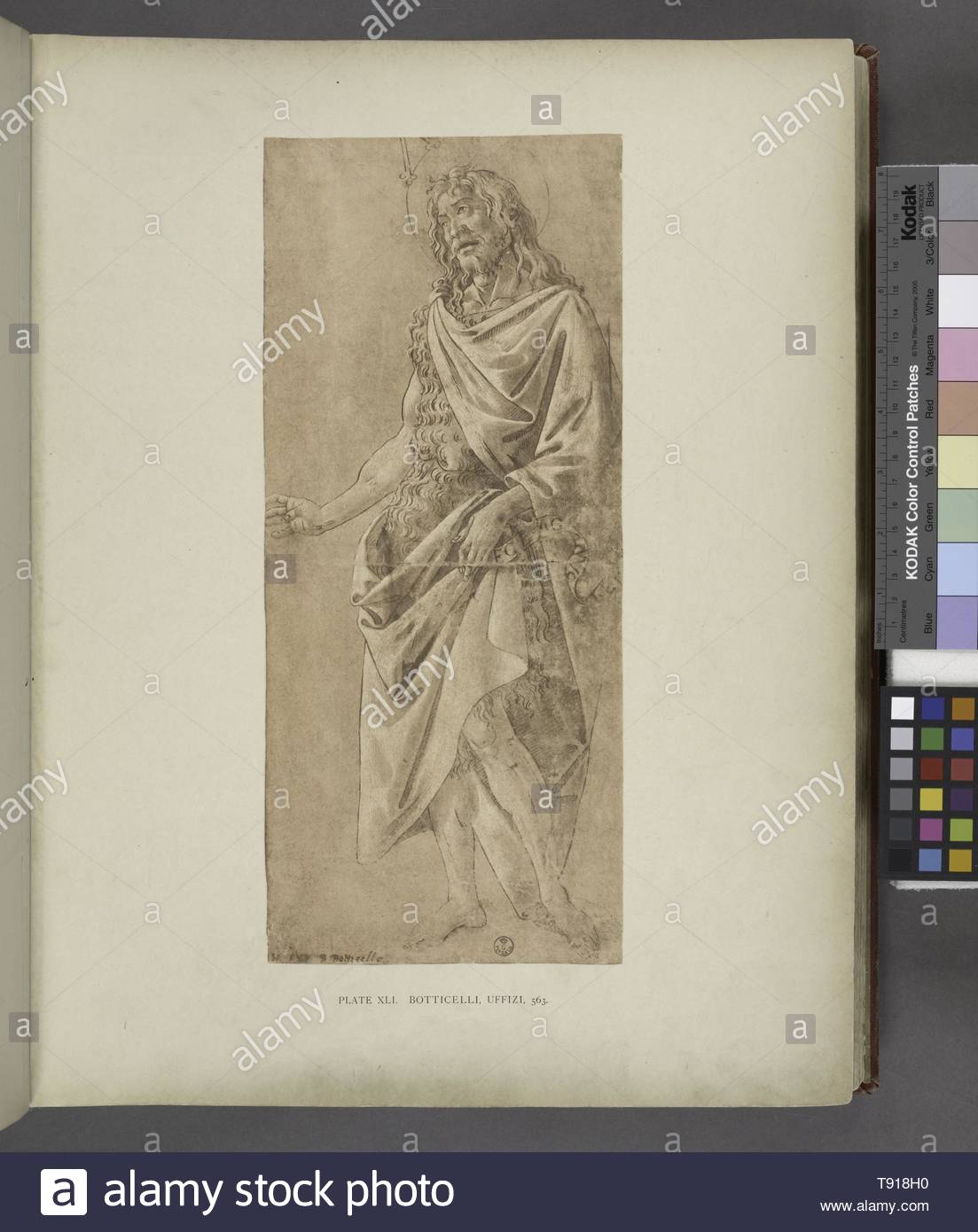 Anonymous-Botticelli, Uffizi, 563  [Study for the baptist standing ] - Stock Image