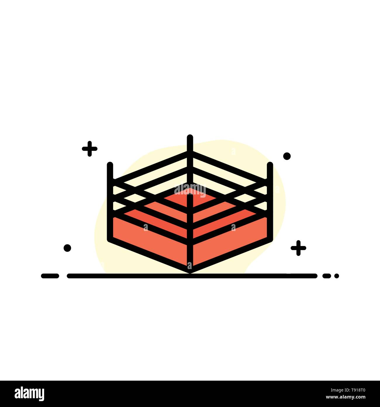 Boxing, Ring, Wrestling  Business Flat Line Filled Icon Vector Banner Template - Stock Image