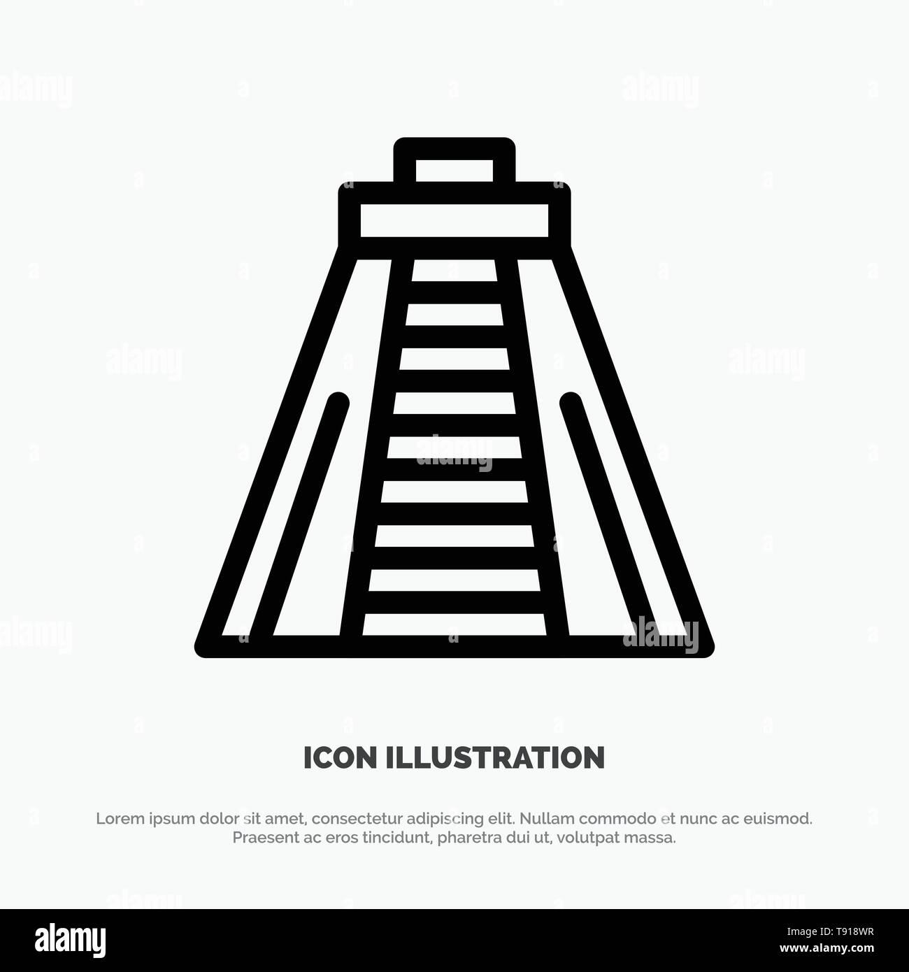 Chichen Itza, Landmark, Monument Vector Line Icon - Stock Image