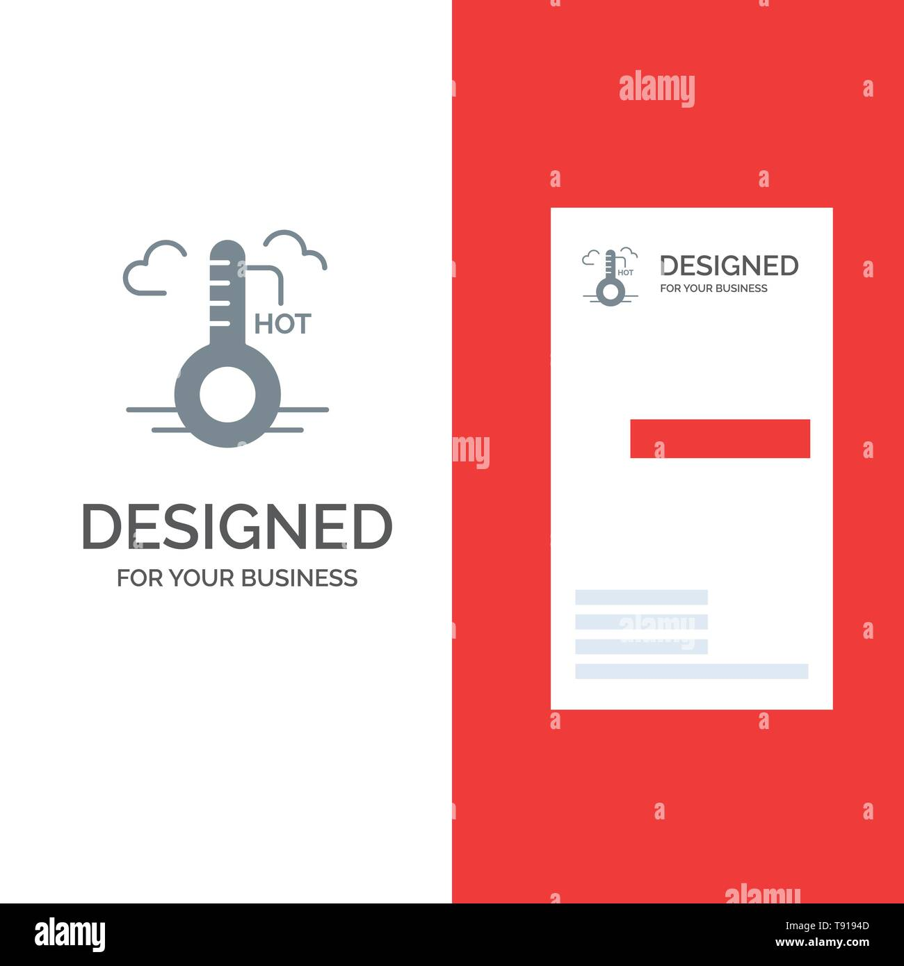Temperature, Hot, Weather, Update Grey Logo Design and Business Card Template - Stock Vector