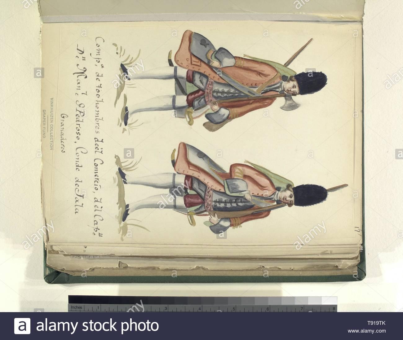 Anonymous-Compañia de 700 hombres de el comercio de el capitan don Manuel St  Pedroso, conde de jala granaderos - Stock Image
