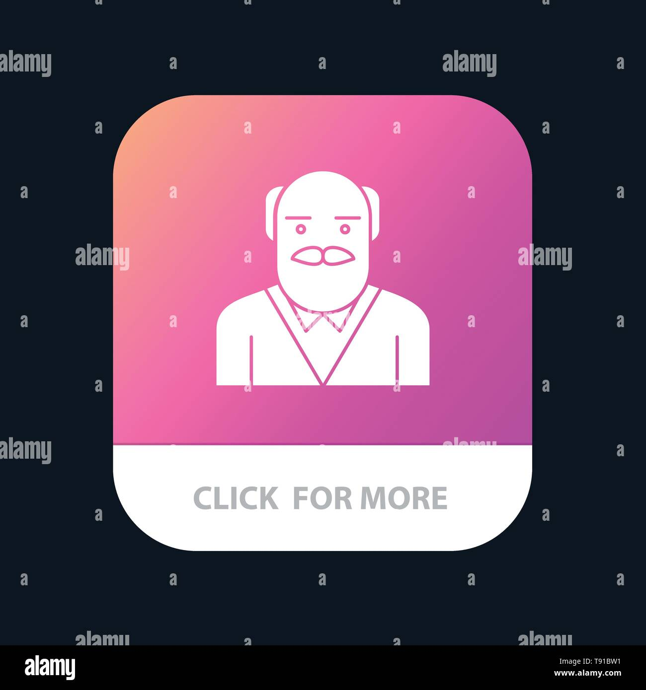 Grandpa, Father, Old Man, Uncle Mobile App Button. Android and IOS Glyph Version - Stock Vector