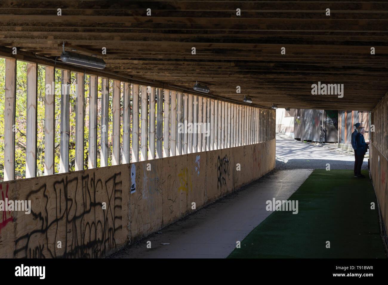 Temporary Wooden Bridge over Tammerkoski in Tampere - Stock Image