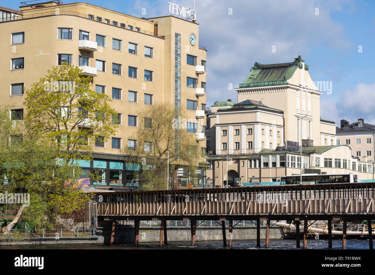 Wooden Bridge over Tammerkoski in Tampere Finland - Stock Image