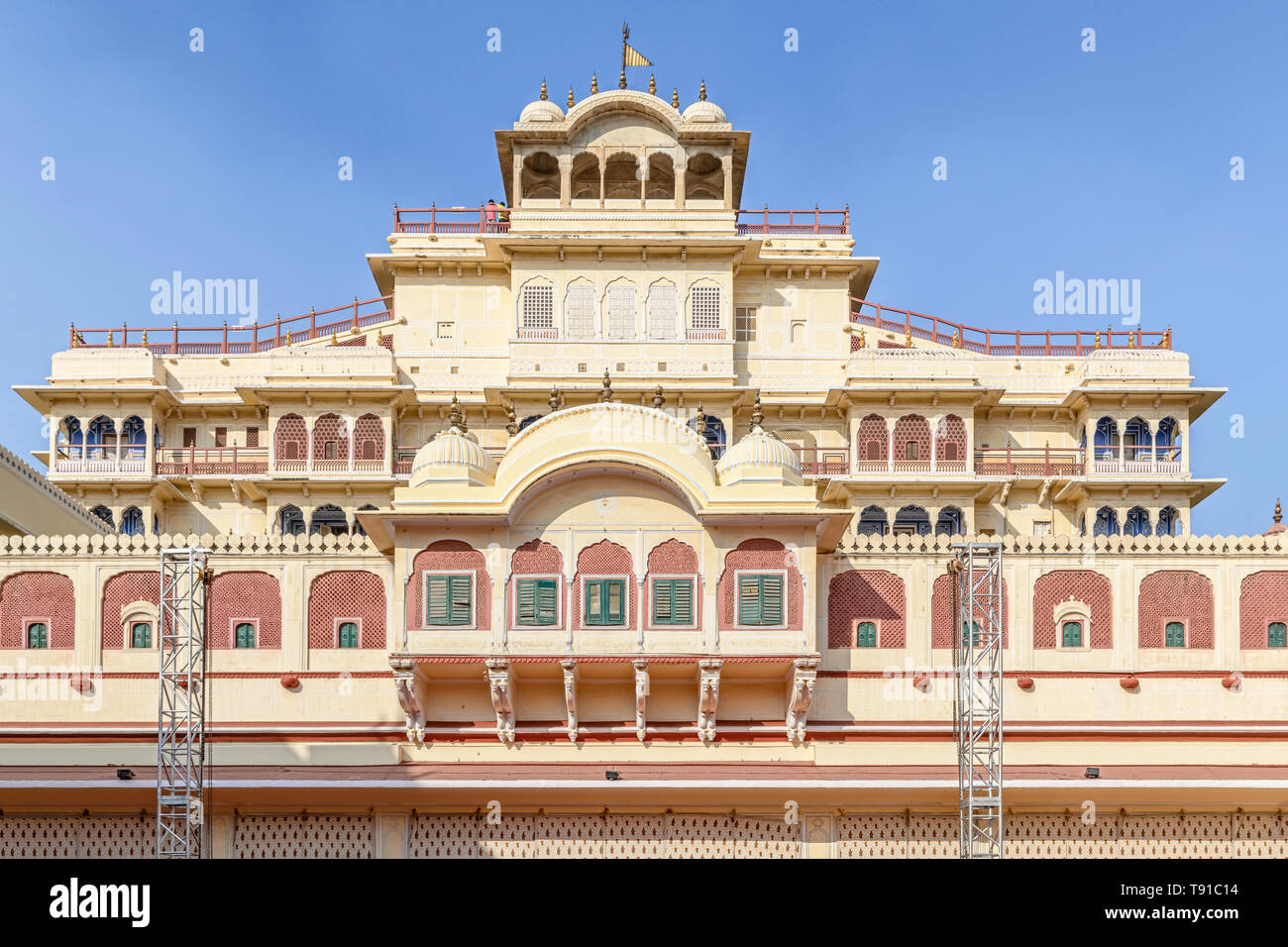 Facade of the Chandra Mahal, the residence of royal family in Jaipur City Palace, Jaipur, Rajasthan, India - Stock Image