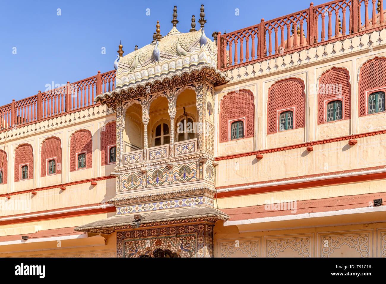 Facade o the Chandra Mahal, the residence of royal family in Jaipur City Palace, Jaipur, Rajasthan, India - Stock Image