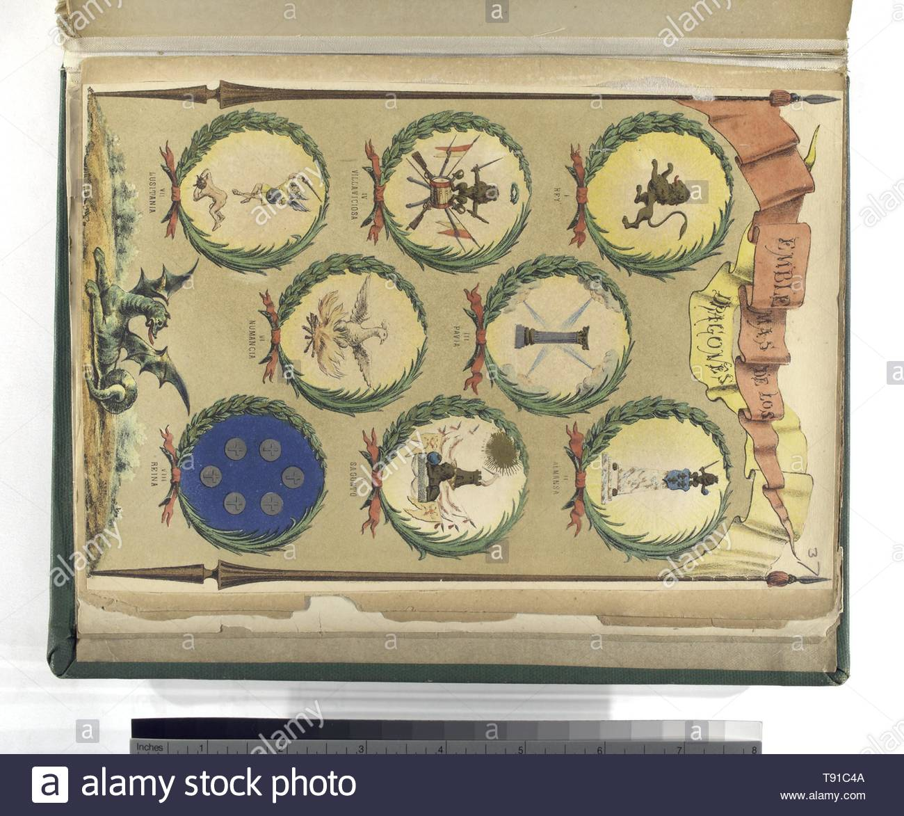 Anonymous-Emblemas, de Los Dragones, I  Rey, II  Almansa, III  Pavia, IV  Villaviciosa, V  Sagunto, VI  Numancia, VII  Lusitania, VIII  Reina - Stock Image