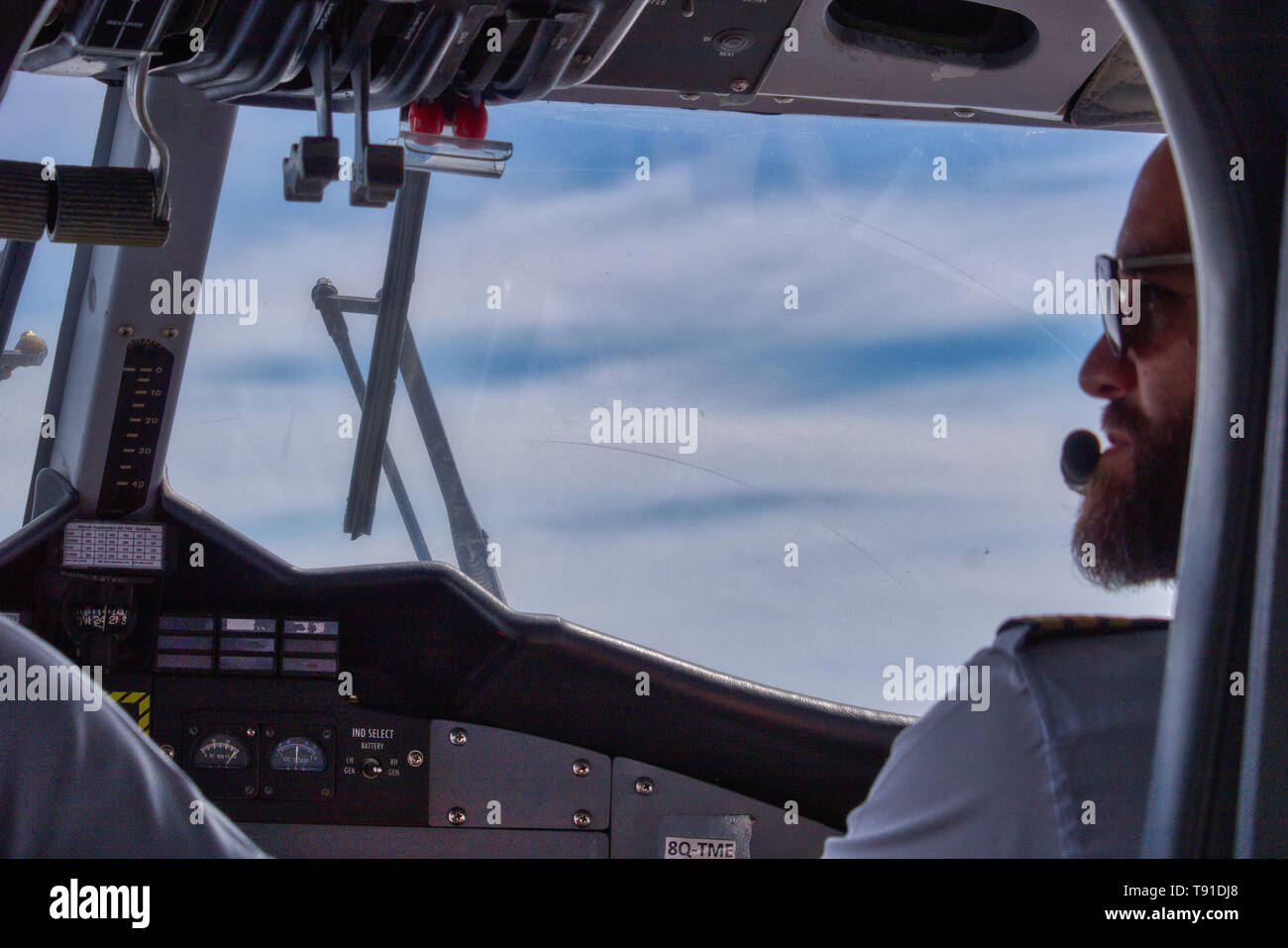 On this unique photo you can see the cockpit inside of a seaplane in the Maldives. These shots are very rare - Stock Image